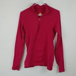 Lucy Waffle Dot Textured Quarter Zip Athletic Top